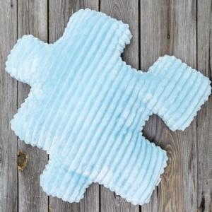 Niebieski dodatek do pokoju dziecięcego, dekoracyjna poduszka dla dzieci minky puzzel błękitna