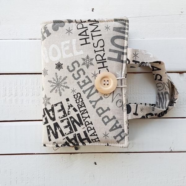 szpanerska materiałowa okładka na książkę ręcznie szyta