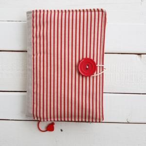 Okładka na książkę ręcznie szyta Paski czerwone