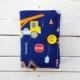 Okładka na dziecięcą książkę lub książeczkę zdrowia uszyta z materiału