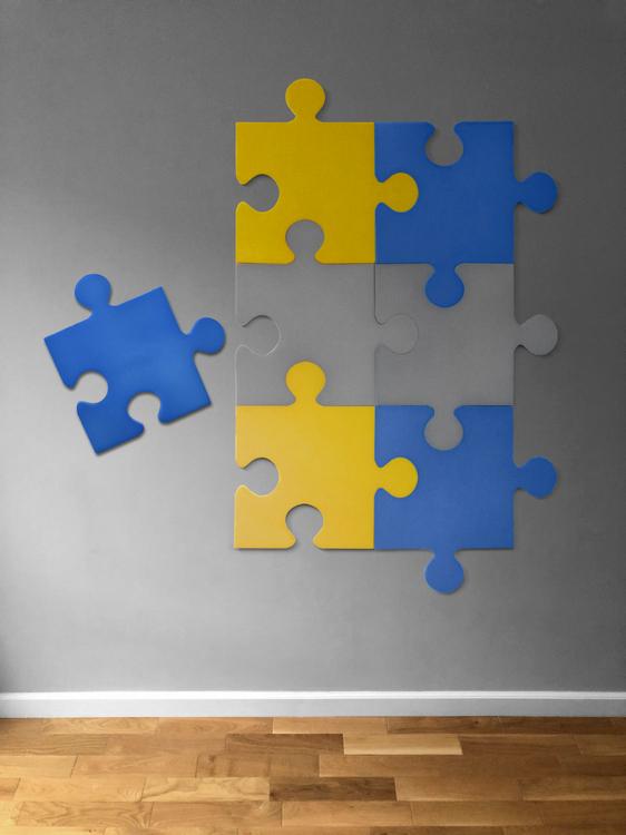 Puzzle ścienne żółto niebieskie i szare Nice Time