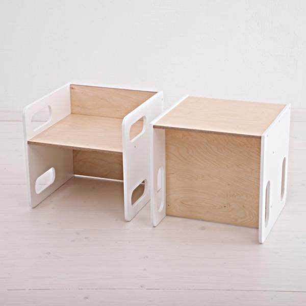 Biały komplet krzesełko i stoliczek dla dziecka cube montessori